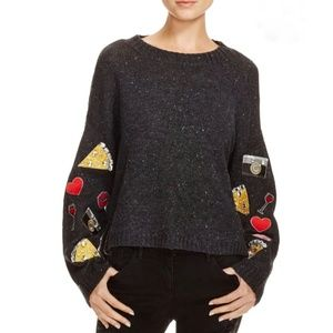 Wildfox Oversize Emoji Patchwork Sleeve Sweater